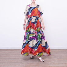 Load image into Gallery viewer, top quality prints linen dresses oversize o neck caftans Fine short sleeve linen caftans