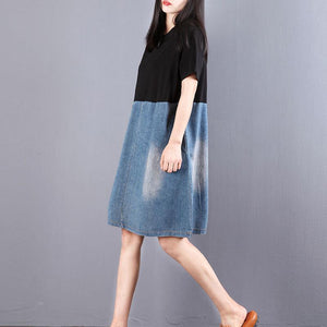 top quality pure cotton blended dresses Loose fitting Women Splicing Round Neck Short Sleeve Denim Dress