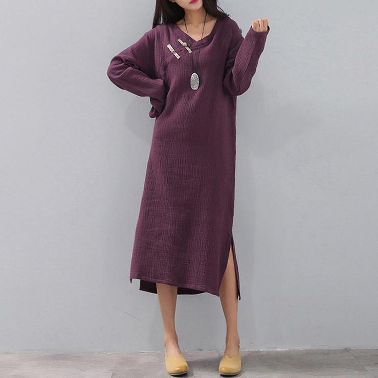top quality purple natural plus size v neck side open clothing dress Elegant long sleeve pockets caftans