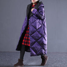Load image into Gallery viewer, top quality purple winter oversize hooded Parka Luxury pockets zippered cotton overcoat
