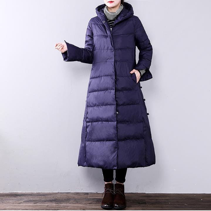 purple women parkas oversize hooded Chinese StyleYZ-2018111407