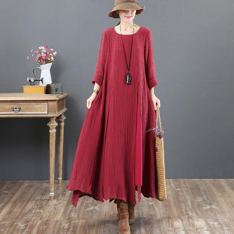 top quality red 2018 fall dress plus size clothing asymmetric linen maxi dress 2018o neck maxi dresses