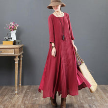 Load image into Gallery viewer, top quality red 2018 fall dress plus size clothing asymmetric linen maxi dress 2018o neck maxi dresses