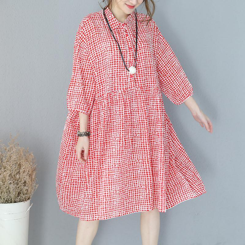 top quality red Plaid natural wrinkled cotton dress plus size turn-down collar long sleeve gown Fine baggy dresses gown