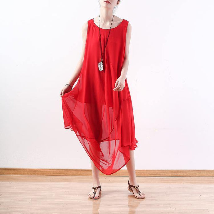 top quality red chiffon dress plus size clothing asymmetric hem chiffon clothing dresses top quality sleeveless kaftans