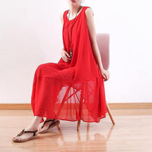 Laden Sie das Bild in den Galerie-Viewer, top quality red chiffon dress plus size clothing asymmetric hem chiffon clothing dresses top quality sleeveless kaftans