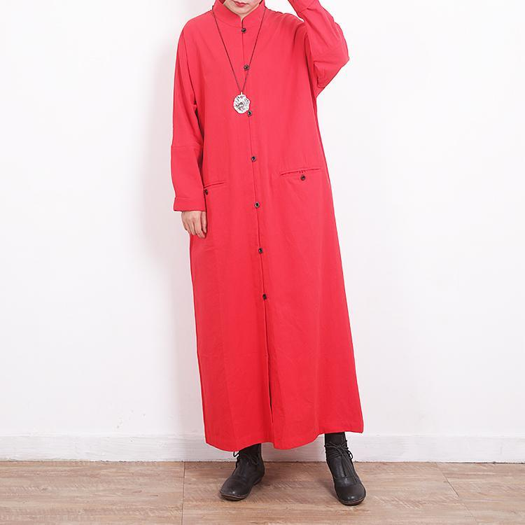 top quality red coat for woman plus size clothing Coats Stand pockets jacket back side open long coats