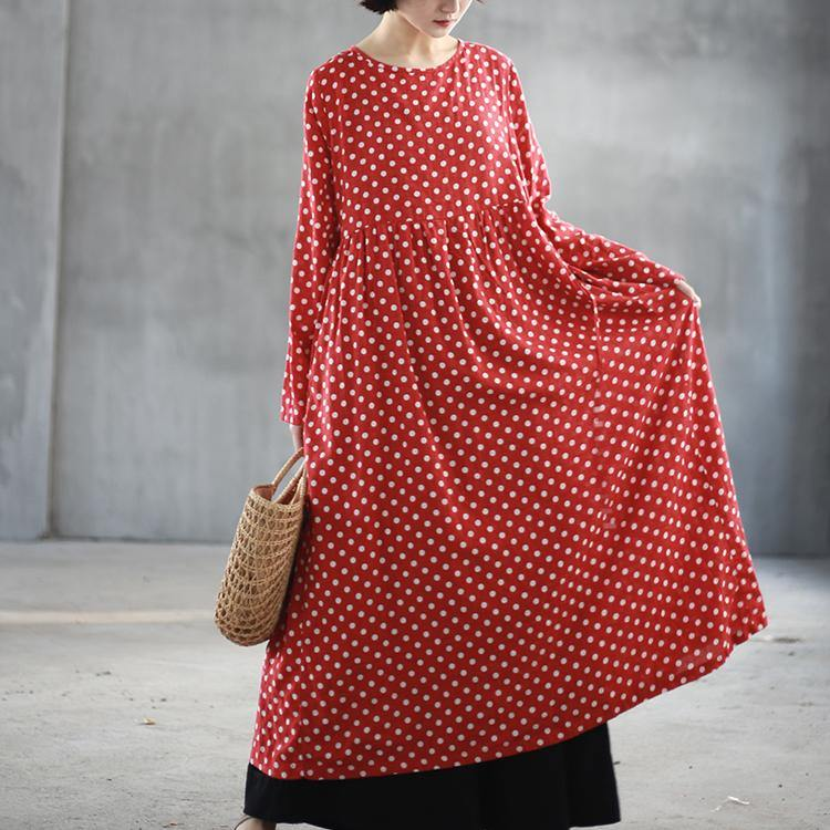 top quality red dotted long cotton dresses oversized high waist traveling dress Elegant big hem caftans