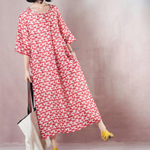 Load image into Gallery viewer, top quality red linen dresses print linen gown vintage half sleeve baggy dresses