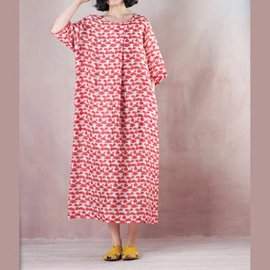 top quality red linen dresses print linen gown vintage half sleeve baggy dresses
