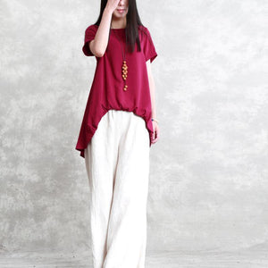 top quality red linen tops trendy plus size linen clothing blouses New draping asymmetric cotton shirts