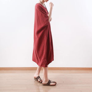 top quality red long silk dress plus size asymmetric patchwork striped traveling dress Elegant v neck kaftans
