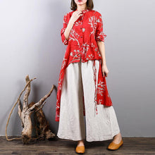 Load image into Gallery viewer, top quality red prints  Midi-length linen t shirt Loose fitting casual cardigans boutique asymmetric hem low high design linen clothing tops