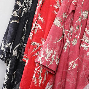 top quality red prints  Midi-length linen t shirt Loose fitting casual cardigans boutique asymmetric hem low high design linen clothing tops
