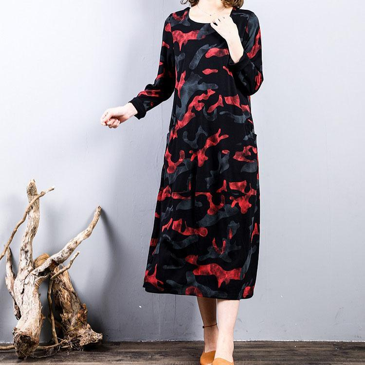 top quality red prints pure cotton dress casual cotton clothing dress long sleeve top quality o neck autumn dress