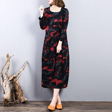 Load image into Gallery viewer, top quality red prints pure cotton dress casual cotton clothing dress long sleeve top quality o neck autumn dress