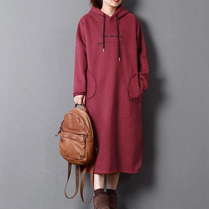 top quality red spring dress oversize maxi dresses hooded drawstring cotton clothing  pockets dress