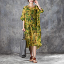 Load image into Gallery viewer, top quality silk linen sundress oversize Women Round Neck Half Sleeve Printed Dress