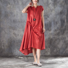 Load image into Gallery viewer, top quality summer cotton blended maxi dress oversize Women Casual V Neck Short Sleeve Red Dress