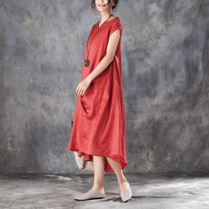 top quality summer cotton blended maxi dress oversize Women Casual V Neck Short Sleeve Red Dress