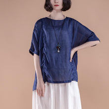 Load image into Gallery viewer, top quality summer linen tops Loose fitting Summer Short Sleeve Pleated High-low Hem Navy Blue Women Tops