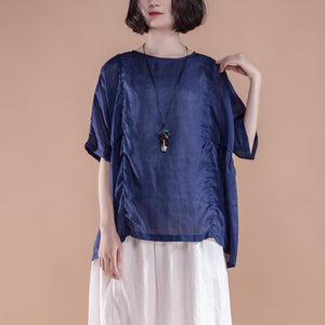 top quality summer linen tops Loose fitting Summer Short Sleeve Pleated High-low Hem Navy Blue Women Tops