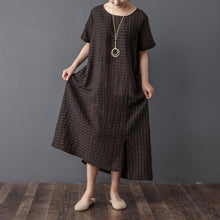 Load image into Gallery viewer, top quality traveling dress plus size Stripe Loose Summer Women Short Sleeve Black Dress