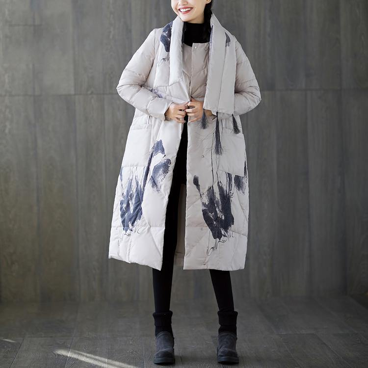 top quality white print down coat trendy plus size tassel down jacket Luxury pockets down coat