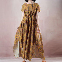 Load image into Gallery viewer, top quality yellow print natural linen dress plus size clothing O neck side open  traveling clothing women short sleeve maxi dresses
