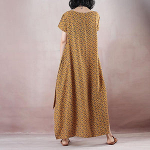 top quality yellow print natural linen dress plus size clothing O neck side open  traveling clothing women short sleeve maxi dresses