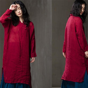 Women Spring summer cotton long-sleeved shirt dress