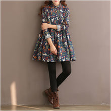 Load image into Gallery viewer, top quality Blue floral cotton dress blouse shirt dresses natural fabric