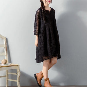 top quality black  Midi lace dresses plus size clothing lace clothing dress women loose waist big hem cotton clothing