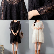 Load image into Gallery viewer, top quality black  Midi lace dresses plus size clothing lace clothing dress women loose waist big hem cotton clothing