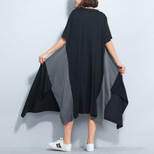 Load image into Gallery viewer, top quality black cotton caftans plus size patchwork cotton gown New asymmetric hem kaftans