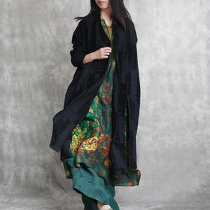 top quality black linen coat plus size jacquard asymmetric vintage cotton cardigans