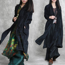 Load image into Gallery viewer, top quality black linen coat plus size jacquard asymmetric vintage cotton cardigans