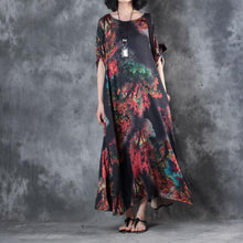 Load image into Gallery viewer, top quality black prints chiffon caftans plus size o neck gown 2018 bracelet sleeved caftans