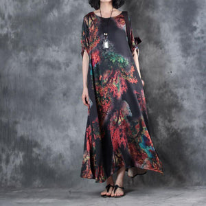top quality black prints chiffon caftans plus size o neck gown 2018 bracelet sleeved caftans