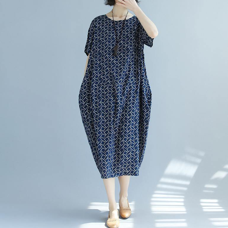 top quality blue asymmetric plaid linen dresses Loose fitting shirt dress New o neck short sleeve linen dresses