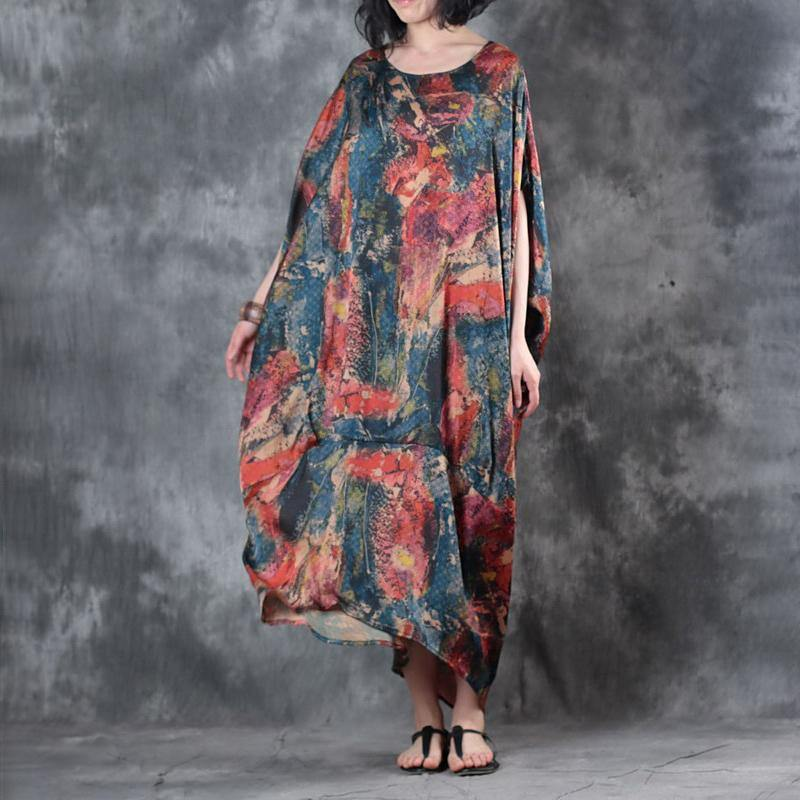 top quality blue prints chiffon maxi dress Loose fitting asymmetric chiffon clothing dresses 2018 batwing sleeve maxi dresses