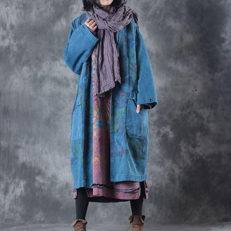 top quality blue prints maxi coats casual v neck Winter coat New  jackets coat
