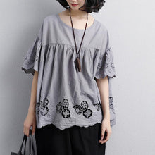 Load image into Gallery viewer, top quality cotton blouse plus size Loose Round Neck Short Sleeve Cotton Gray Tops