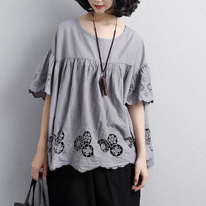 top quality cotton blouse plus size Loose Round Neck Short Sleeve Cotton Gray Tops
