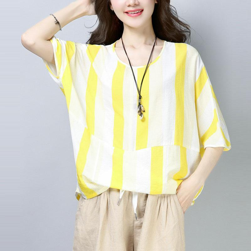 top quality cotton blouses oversized Casual Summer Short Sleeve Yellow Stripe T-shirt