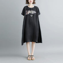 Load image into Gallery viewer, top quality cotton dresses Loose fitting Casual Summer Short Sleeve Black Pockets Slit Dress