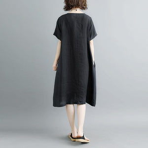 top quality cotton dresses Loose fitting Casual Summer Short Sleeve Black Pockets Slit Dress