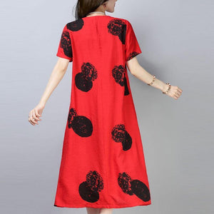 top quality cotton shift dress trendy plus size Casual Short Sleeve Round Neck Printed Red Dress