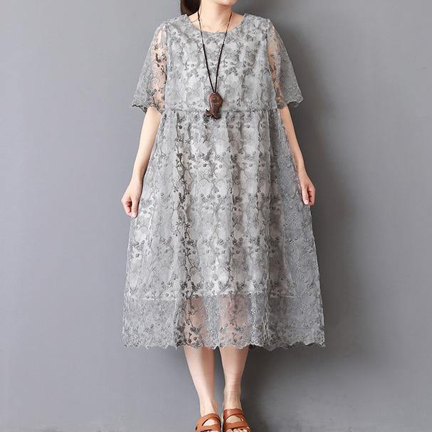 top quality gray knee dress plus size holiday dresses New twp pieces lace embroidery natural linen dress
