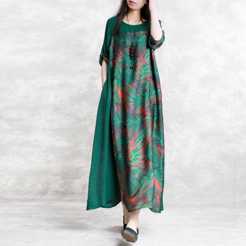 top quality green  chiffon silk caftans plus size clothing asymmetric traveling clothing Elegant patchwork dresses